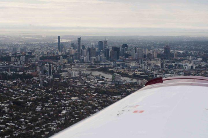Brisbane scenic flight - brisbane skyline view with Sky Dance